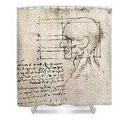 Anatomical Drawing By Leonardo Da Vinci Shower Curtain