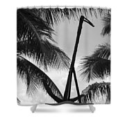 Anchor In Black And White Shower Curtain