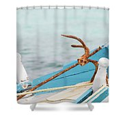 Anchor On A Boat In Maldives Shower Curtain