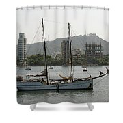 Anchored Sailboat Shower Curtain