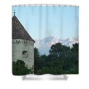 Ancient Building And Mountains Shower Curtain