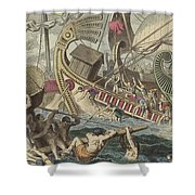 Ancient Greek Sea Battle Shower Curtain