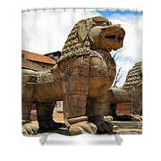 Ancient Lions In Nepal Shower Curtain