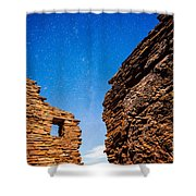 Ancient Native American Pueblo Ruins And Stars At Night Shower Curtain by Bryan Mullennix