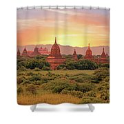 Ancient Pagodas In The Countryside From Bagan In Myanmar At Suns Shower Curtain