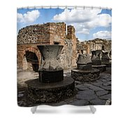Ancient Pompeii - Bakery Of Modestus Millstones And Bread Oven Shower Curtain