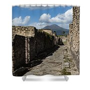Ancient Pompeii - Empty Street And Mount Vesuvius Volcano That Caused It All Shower Curtain