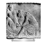 Ancient Roman Relief Carving Of Midwife Shower Curtain
