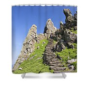 Ancient Steps Leading To Celtic Monastery, Skellig Michael, County Kerry, Ireland Shower Curtain