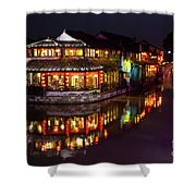 Ancient Style Restaurant On Water By Stone Bridge Shower Curtain