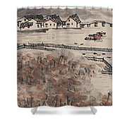 Ancient Town River Paintingancient Town River Painting Shower Curtain