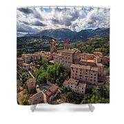 Ancient Village Of Sarnano Italy, Marche, Macerata - Aerial View Shower Curtain