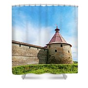 Ancient Wall And Tower Of The Fortress Oreshek Shower Curtain