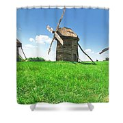 Ancient Windmills In Field Shower Curtain
