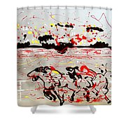 And Down The Stretch They Come Shower Curtain