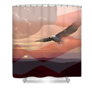 And The Eagle Flies Shower Curtain by Paul Sachtleben
