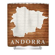 Andorra Rustic Map On Wood Shower Curtain
