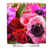 Anemones And Roses Shower Curtain