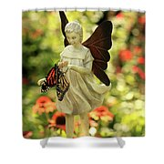 Angel And Butterfly Blessings Shower Curtain