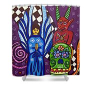 Angel And Devil-day Of The Dead Shower Curtain