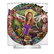 Angel And Fox Shower Curtain