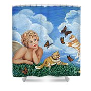 Angel And Kittens Shower Curtain