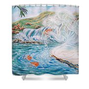 Angel And The Fishes  Flying-lamb-productions  Shower Curtain