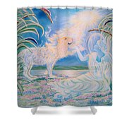Chloe The Flying Lamb Productions.            Ask The Beasts And They Will Teach You. Shower Curtain