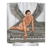 Angel And The Piano Drawing Hnad-drawn Shower Curtain