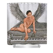 Angel And The Piano Shower Curtain