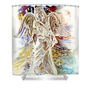 Angel At The Cross Shower Curtain