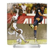 Angel Di Maria Shoot The Ball Shower Curtain