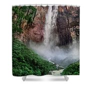 Angel Falls Canaima National Park Venezuela Shower Curtain by Dave Welling