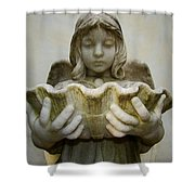 Angel Holding Shell Shower Curtain