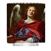 Angel Holding The Vessel And Towel For Washing The Hands Of Pontius Pilate Shower Curtain
