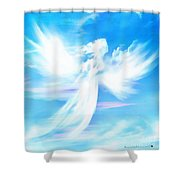 Angel In Thick Paint Shower Curtain