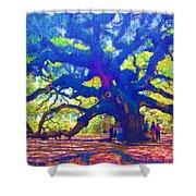 Angel Oak Tree Shower Curtain