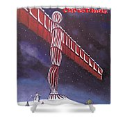 Angel Of The North Christmas Shower Curtain