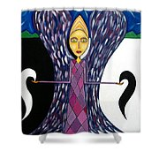 Angel Of Ying Yang Shower Curtain