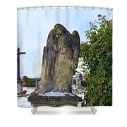 Angel On Graveyard Shower Curtain
