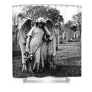 Angel On The Ground At Calvary Cemetery In Nyc New York Shower Curtain
