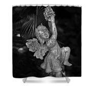 Angel Statue Hanging On Shower Curtain