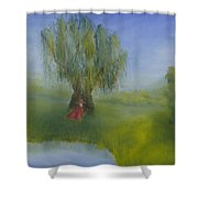 Angel Under Weeping Willow Shower Curtain