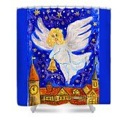 Angel With Christmas Bell Shower Curtain