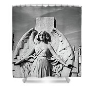 Angel With Outspread Wings And Other Angels In The Background Shower Curtain