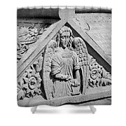 Angel With Scroll Carving Shower Curtain