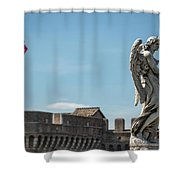 Angel With The Garment And Dice Shower Curtain
