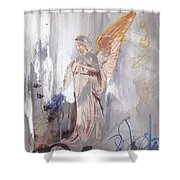 Angel Writing Doodles In Spirit Shower Curtain
