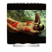 Angela Red Bikini-0721 Shower Curtain