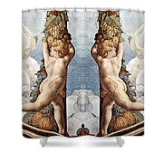 Angels And Fruits Shower Curtain